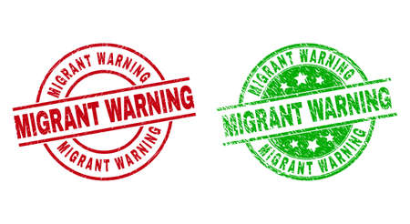 Round MIGRANT WARNING seal stamps. Flat vector distress seal stamps with MIGRANT WARNING phrase inside circle and lines, using red and green colors. Watermarks with scratched texture. Vector Illustration