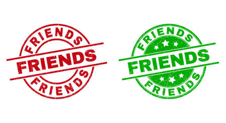 Round FRIENDS stamp badges. Flat vector textured stamp watermarks with FRIENDS phrase inside circle and lines, in red and green colors. Rubber imitations with corroded style.