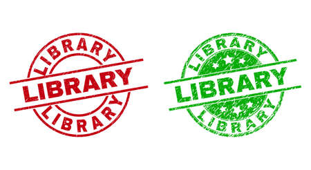Round LIBRARY watermarks. Flat vector scratched stamp watermarks with LIBRARY phrase inside circle and lines, using red and green colors. Stamp imprints with grunged surface.