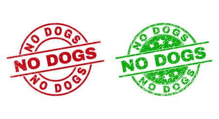 Round NO DOGS seal stamps. Flat vector textured seal stamps with NO DOGS title inside circle and lines, using red and green colors. Rubber imitations with scratched surface. Ilustración de vector