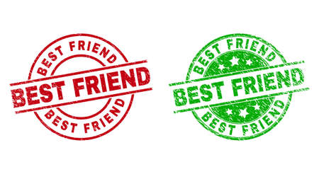 Round BEST FRIEND stamp badges. Flat vector textured stamp watermarks with BEST FRIEND text inside circle and lines, using red and green colors. Stamp imprints with grunge surface.