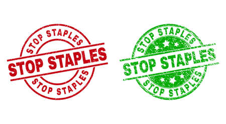 Round STOP STAPLES seals. Flat vector distress seals with STOP STAPLES message inside circle and lines, using red and green colors. Rubber imitations with unclean surface.