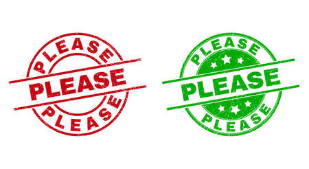 Round PLEASE stamp badges. Flat vector distress stamp watermarks with PLEASE title inside circle and lines, in red and green colors. Watermarks with grunge surface.
