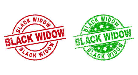 Round BLACK WIDOW badge stamps. Flat vector grunge seal stamps with BLACK WIDOW phrase inside circle and lines, using red and green colors. Stamp imprints with unclean style.