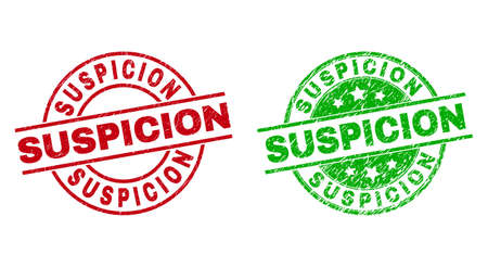 Round SUSPICION seal stamps. Flat vector textured seal stamps with SUSPICION caption inside circle and lines, using red and green colors. Watermarks with distress texture.