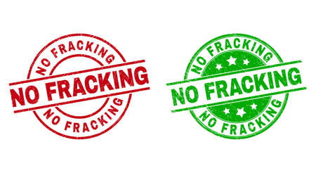 Round NO FRACKING watermarks. Flat vector scratched stamps with NO FRACKING title inside circle and lines, using red and green colors. Stamp imprints with scratched surface.