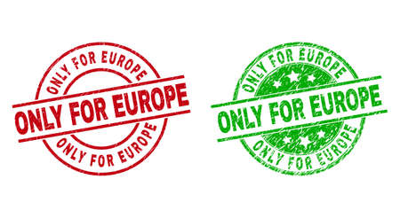 Round ONLY FOR EUROPE stamp badges. Flat vector scratched badges with ONLY FOR EUROPE caption inside circle and lines, using red and green colors. Watermarks with grunge surface.