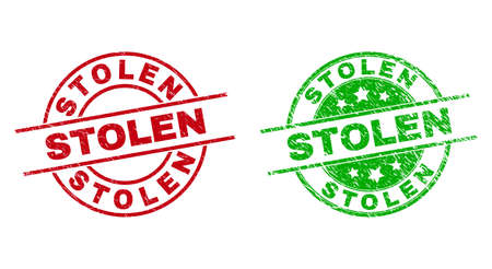 Round STOLEN watermarks. Flat vector grunge stamp watermarks with STOLEN title inside circle and lines, using red and green colors. Stamp imprints with unclean surface. Vektorové ilustrace