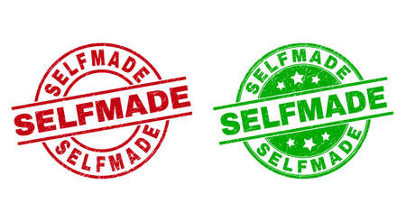 Round SELFMADE stamp badges. Flat vector grunge badges with SELFMADE text inside circle and lines, using red and green colors. Stamp imprints with unclean surface. Vektorgrafik