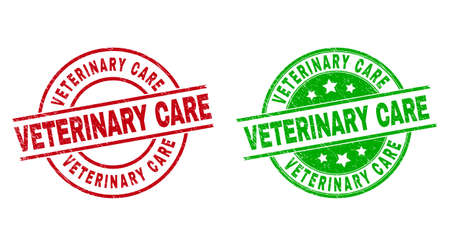 Round VETERINARY CARE seal stamps. Flat vector distress seal stamps with VETERINARY CARE title inside circle and lines, in red and green colors. Rubber imitations with grunge surface.