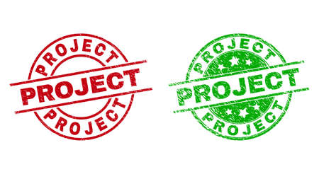 Round PROJECT watermarks. Flat vector distress seals with PROJECT text inside circle and lines, using red and green colors. Watermarks with grunge texture.