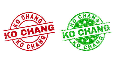 Round KO CHANG stamp badges. Flat vector textured badges with KO CHANG text inside circle and lines, using red and green colors. Stamp imprints with corroded style.