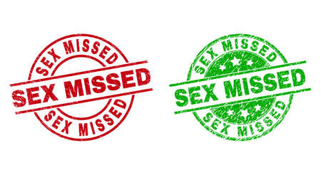 Round SEX MISSED stamps. Flat vector grunge seal stamps with SEX MISSED phrase inside circle and lines, using red and green colors. Stamp imprints with grunge style.