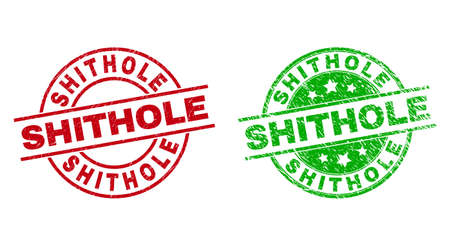 Round SHITHOLE seal stamps. Flat vector grunge seal stamps with SHITHOLE text inside circle and lines, in red and green colors. Rubber imitations with distress style.