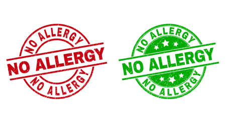 Round NO ALLERGY stamps. Flat vector textured stamps with NO ALLERGY caption inside circle and lines, in red and green colors. Stamp imprints with grunge texture.