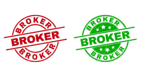 Round BROKER stamps. Flat vector scratched badges with BROKER caption inside circle and lines, using red and green colors. Watermarks with scratched style.