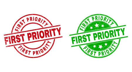 Round FIRST PRIORITY stamp badges. Flat vector scratched stamp watermarks with FIRST PRIORITY caption inside circle and lines, in red and green colors. Stamp imprints with corroded texture.