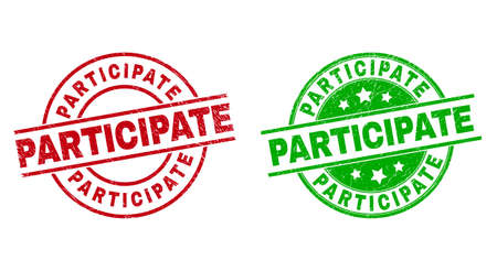 Round PARTICIPATE seal stamps. Flat vector textured stamps with PARTICIPATE message inside circle and lines, in red and green colors. Stamp imprints with corroded style. Vecteurs