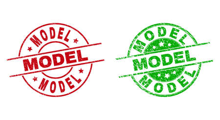 Round MODEL stamp badges. Flat vector distress seal stamps with MODEL message inside circle and lines, using red and green colors. Stamp imprints with distress surface. Vecteurs