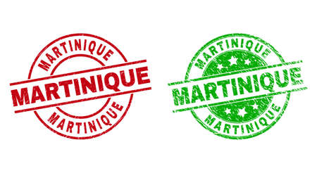 Round MARTINIQUE seal stamps. Flat vector scratched seal stamps with MARTINIQUE text inside circle and lines, using red and green colors. Stamp imprints with scratched texture.