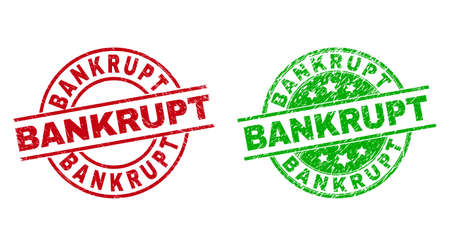 Round BANKRUPT seals. Flat vector distress stamp watermarks with BANKRUPT caption inside circle and lines, in red and green colors. Watermarks with distress style.