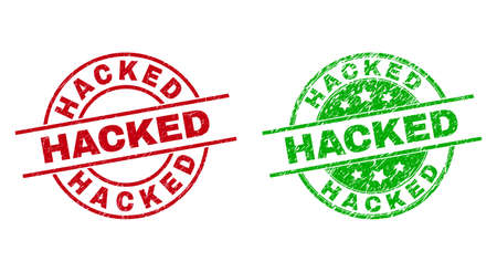 Round HACKED seals. Flat vector scratched stamp watermarks with HACKED phrase inside circle and lines, in red and green colors. Stamp imprints with grunged texture.