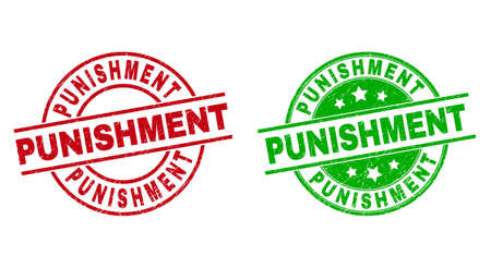 Round PUNISHMENT watermarks. Flat vector grunge badges with PUNISHMENT phrase inside circle and lines, using red and green colors. Watermarks with scratched texture.