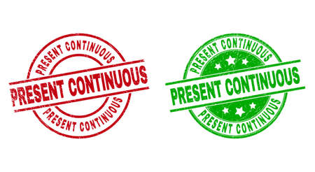 Round PRESENT CONTINUOUS stamp badges. Flat vector textured stamp watermarks with PRESENT CONTINUOUS caption inside circle and lines, in red and green colors. Stamp imprints with distress texture.