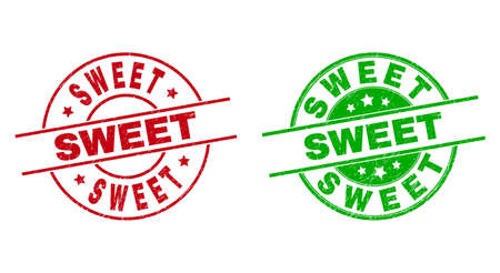 Round SWEET watermarks. Flat vector textured stamps with SWEET text inside circle and lines, in red and green colors. Watermarks with grunge surface.