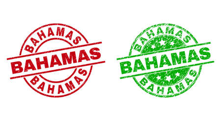 Round BAHAMAS seal stamps. Flat vector textured seal stamps with BAHAMAS message inside circle and lines, in red and green colors. Watermarks with corroded surface.