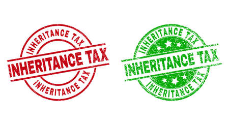 Round INHERITANCE TAX badge stamps. Flat vector distress seal stamps with INHERITANCE TAX phrase inside circle and lines, using red and green colors. Rubber imitations with distress style.
