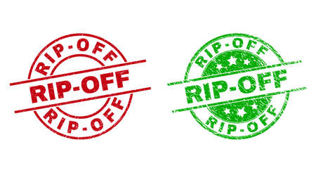 Round RIP-OFF seal stamps. Flat vector textured seal stamps with RIP-OFF title inside circle and lines, using red and green colors. Stamp imprints with distress texture.