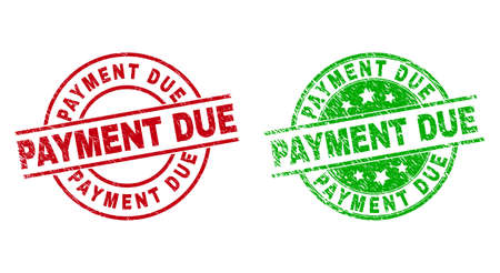 Round PAYMENT DUE stamp badges. Flat vector textured stamp watermarks with PAYMENT DUE phrase inside circle and lines, in red and green colors. Watermarks with corroded surface.