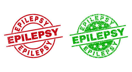 Round EPILEPSY stamps. Flat vector distress stamps with EPILEPSY title inside circle and lines, in red and green colors. Stamp imprints with unclean style. 矢量图像