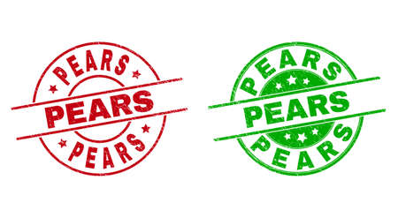 Round PEARS stamp badges. Flat vector textured badges with PEARS message inside circle and lines, using red and green colors. Stamp imprints with grunged surface. 矢量图像