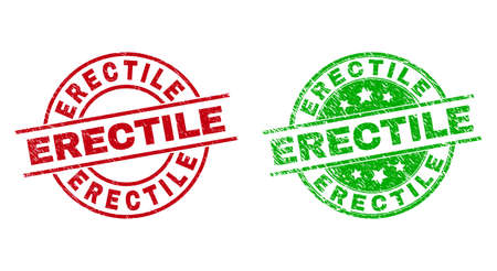 Round ERECTILE stamps. Flat vector distress stamps with ERECTILE text inside circle and lines, in red and green colors. Watermarks with distress style.