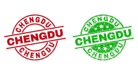 Round CHENGDU stamps. Flat vector scratched stamps with CHENGDU caption inside circle and lines, in red and green colors. Stamp imprints with scratched texture.