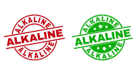 Round ALKALINE stamp badges. Flat vector distress stamp watermarks with ALKALINE message inside circle and lines, in red and green colors. Stamp imprints with corroded texture.