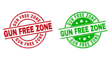 Round GUN FREE ZONE badge stamps. Flat vector distress seal stamps with GUN FREE ZONE message inside circle and lines, using red and green colors. Watermarks with distress surface.