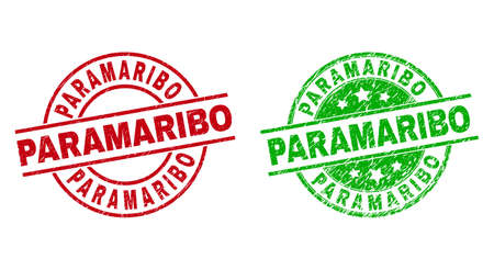 Round PARAMARIBO seal stamps. Flat vector textured seal stamps with PARAMARIBO text inside circle and lines, in red and green colors. Stamp imprints with distress texture.