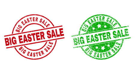 Round BIG EASTER SALE stamp badges. Flat vector scratched stamp watermarks with BIG EASTER SALE phrase inside circle and lines, using red and green colors. Stamp imprints with grunged texture.