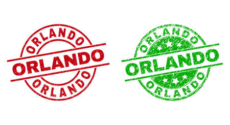 Round ORLANDO stamps. Flat vector distress stamps with ORLANDO title inside circle and lines, in red and green colors. Watermarks with corroded style. 矢量图像