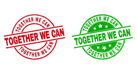 Round TOGETHER WE CAN stamps. Flat vector textured stamps with TOGETHER WE CAN title inside circle and lines, using red and green colors. Stamp imprints with scratched style. 矢量图像