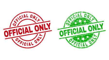 Round OFFICIAL ONLY watermarks. Flat vector distress seals with OFFICIAL ONLY phrase inside circle and lines, using red and green colors. Watermarks with distress texture.