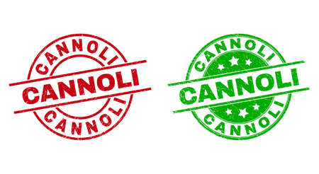 Round CANNOLI badge stamps. Flat vector distress seal stamps with CANNOLI message inside circle and lines, in red and green colors. Stamp imprints with distress surface.