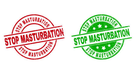 Round STOP MASTURBATION seal stamps. Flat vector distress seal stamps with STOP MASTURBATION message inside circle and lines, in red and green colors. Stamp imprints with corroded surface. 矢量图像