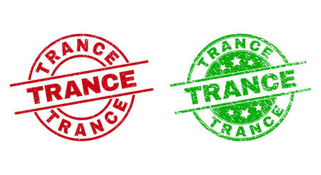 Round TRANCE watermarks. Flat vector scratched badges with TRANCE phrase inside circle and lines, in red and green colors. Watermarks with grunge surface.
