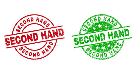 Round SECOND HAND stamp badges. Flat vector grunge badges with SECOND HAND text inside circle and lines, using red and green colors. Watermarks with grunged style. 矢量图像