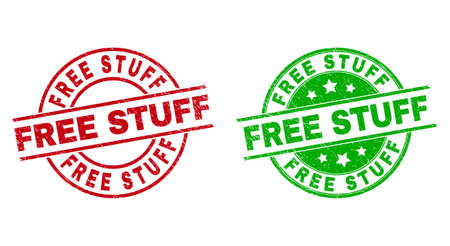 Round FREE STUFF seal stamps. Flat vector textured seal stamps with FREE STUFF caption inside circle and lines, using red and green colors. Rubber imitations with scratched texture. 矢量图像