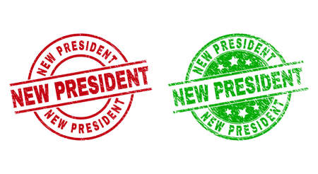 Round NEW PRESIDENT watermarks. Flat vector scratched stamp watermarks with NEW PRESIDENT title inside circle and lines, using red and green colors. Watermarks with scratched style.